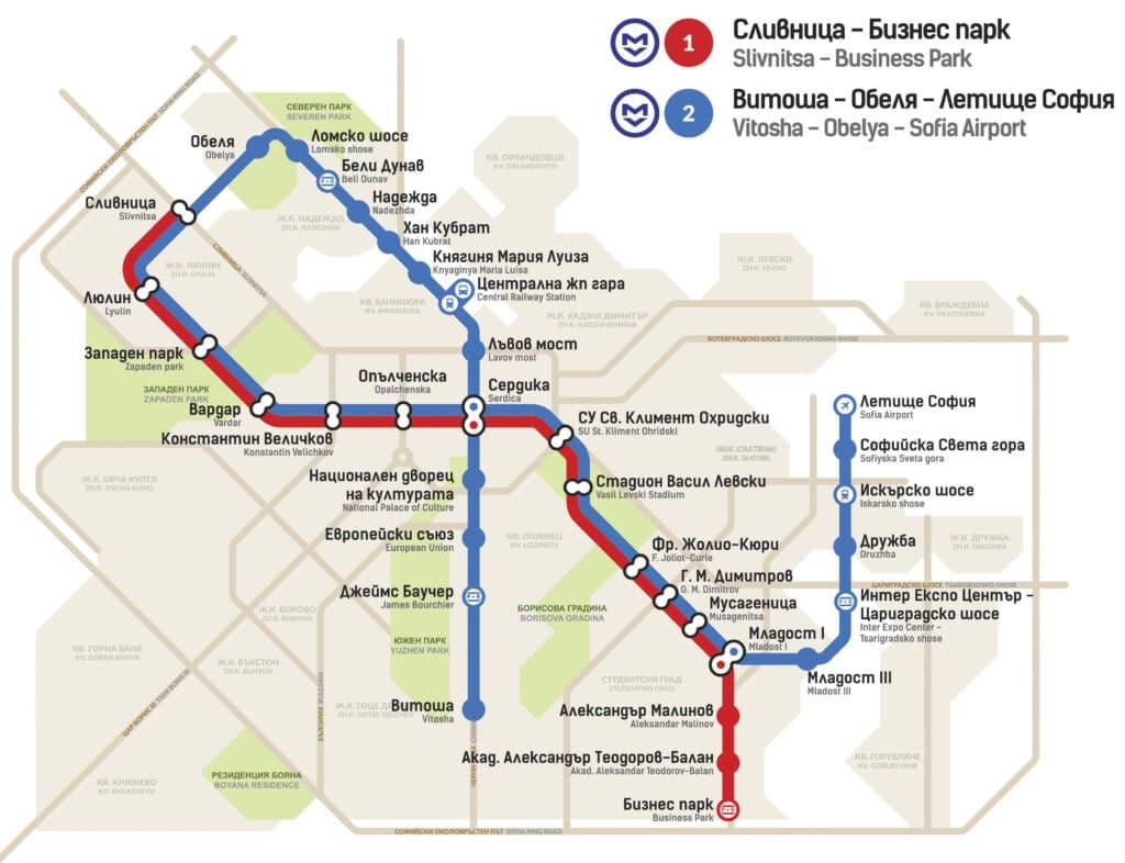 Mapa de las líneas del metro de Sofía, Fuente: Metropolitain Sofia
